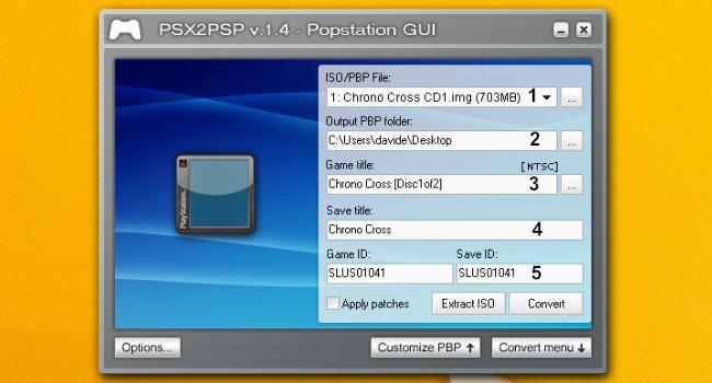 PSX2PSP menù conversione